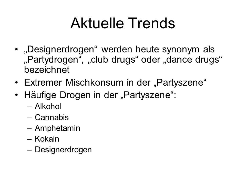 """Aktuelle Trends """"Designerdrogen werden heute synonym als """"Partydrogen , """"club drugs oder """"dance drugs bezeichnet."""