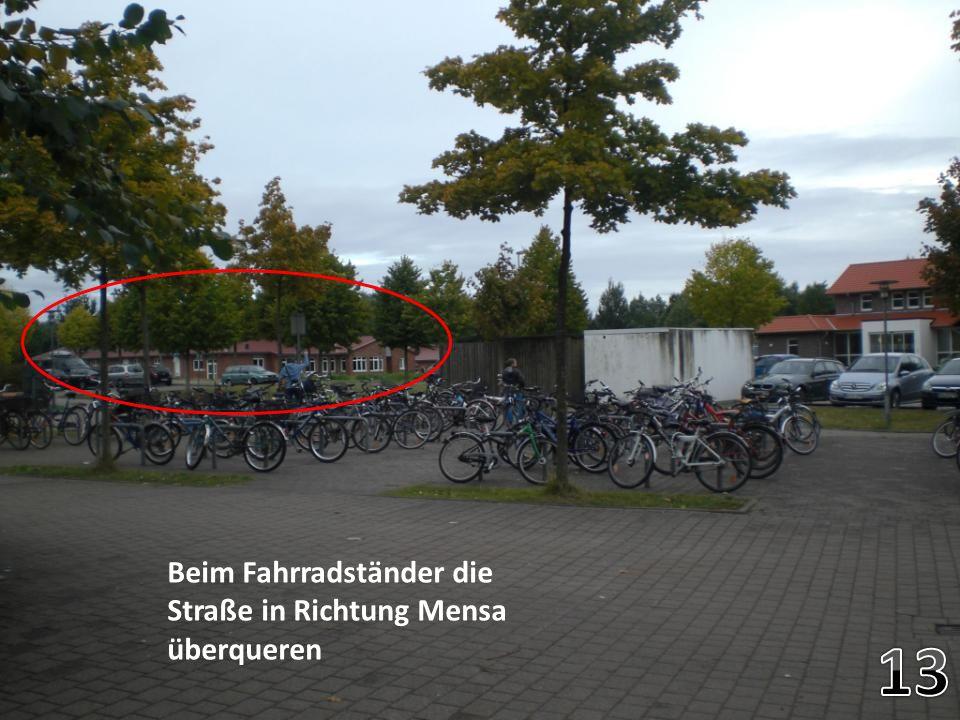 Beim Fahrradständer die Straße in Richtung Mensa überqueren