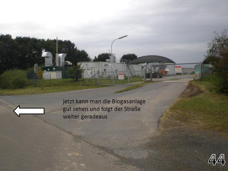jetzt kann man die Biogasanlage gut sehen und folgt der Straße weiter geradeaus