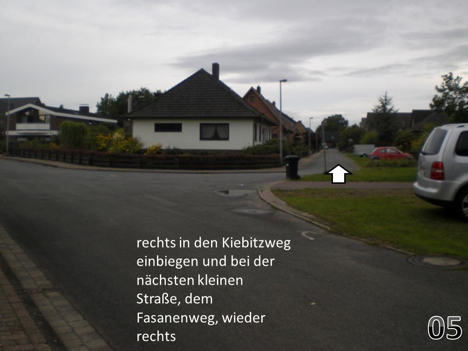 rechts in den Kiebitzweg einbiegen und bei der nächsten kleinen Straße, dem Fasanenweg, wieder rechts