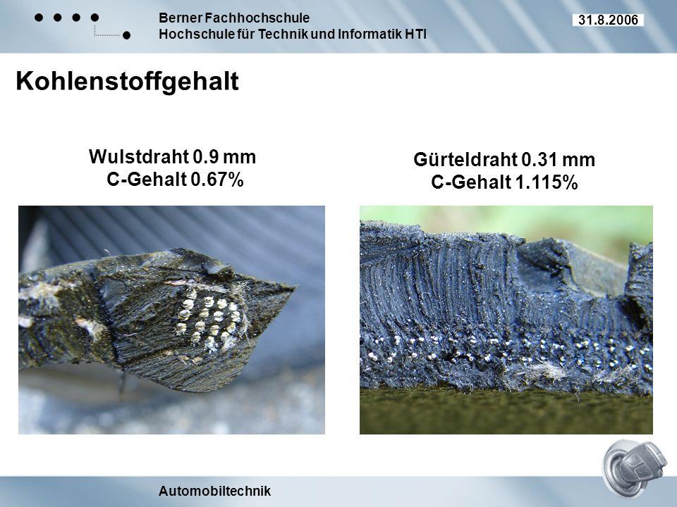 Kohlenstoffgehalt Wulstdraht 0.9 mm Gürteldraht 0.31 mm C-Gehalt 0.67%