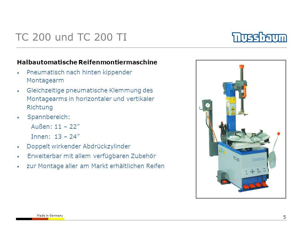 TC 200 und TC 200 TI Halbautomatische Reifenmontiermaschine