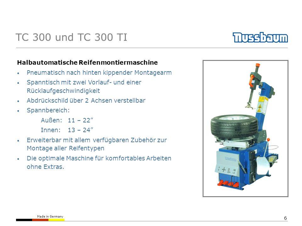 TC 300 und TC 300 TI Halbautomatische Reifenmontiermaschine