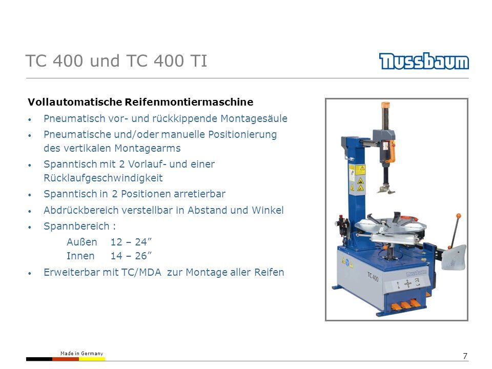 TC 400 und TC 400 TI Vollautomatische Reifenmontiermaschine