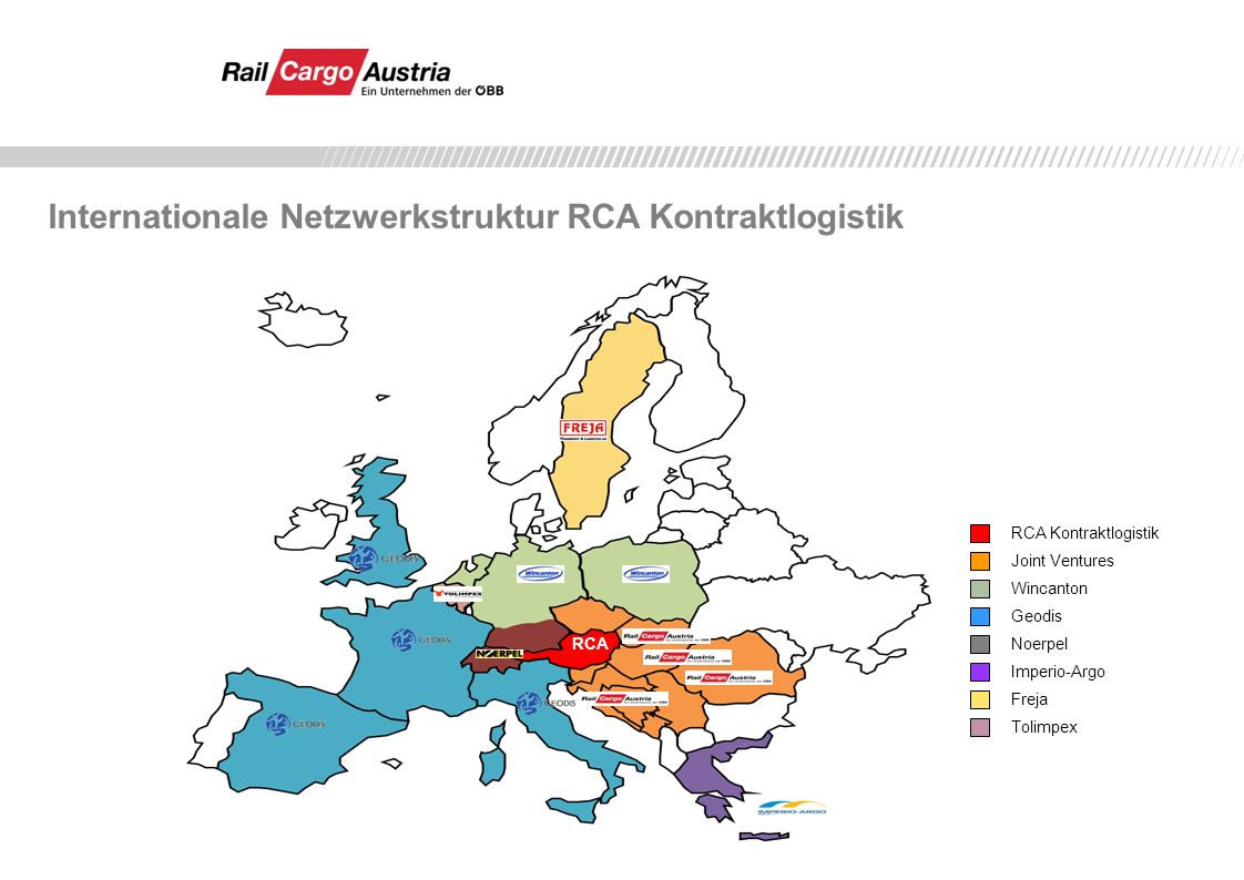 Internationale Netzwerkstruktur RCA Kontraktlogistik