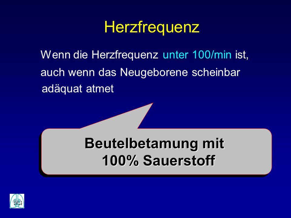 Herzfrequenz Beutelbetamung mit 100% Sauerstoff