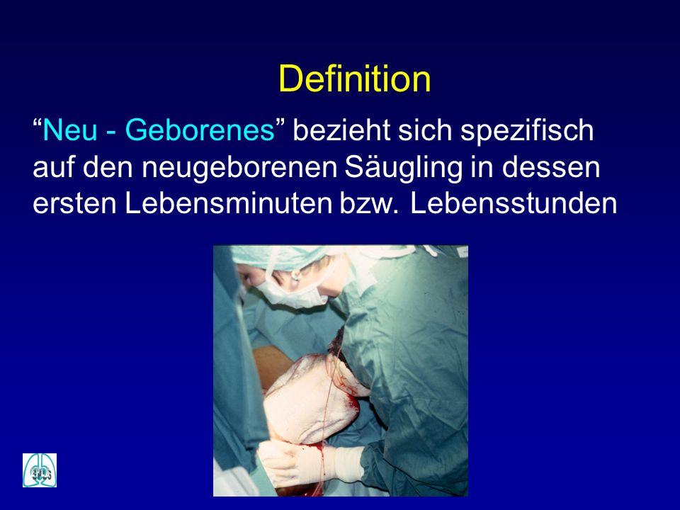 Definition Neu - Geborenes bezieht sich spezifisch auf den neugeborenen Säugling in dessen ersten Lebensminuten bzw.
