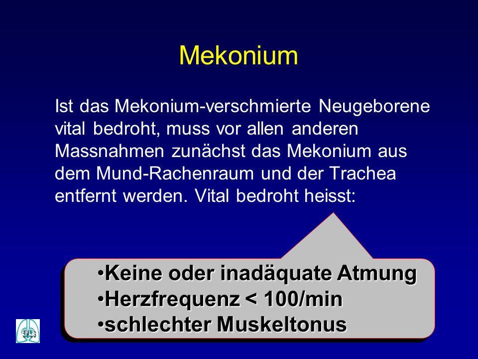 Mekonium Keine oder inadäquate Atmung Herzfrequenz < 100/min