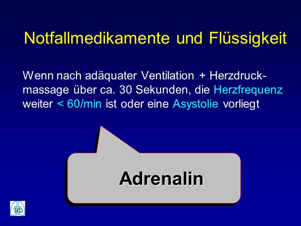 Notfallmedikamente und Flüssigkeit