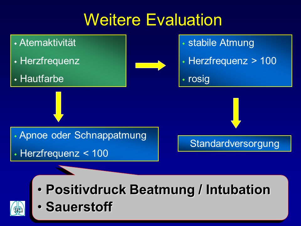 Weitere Evaluation Positivdruck Beatmung / Intubation Sauerstoff