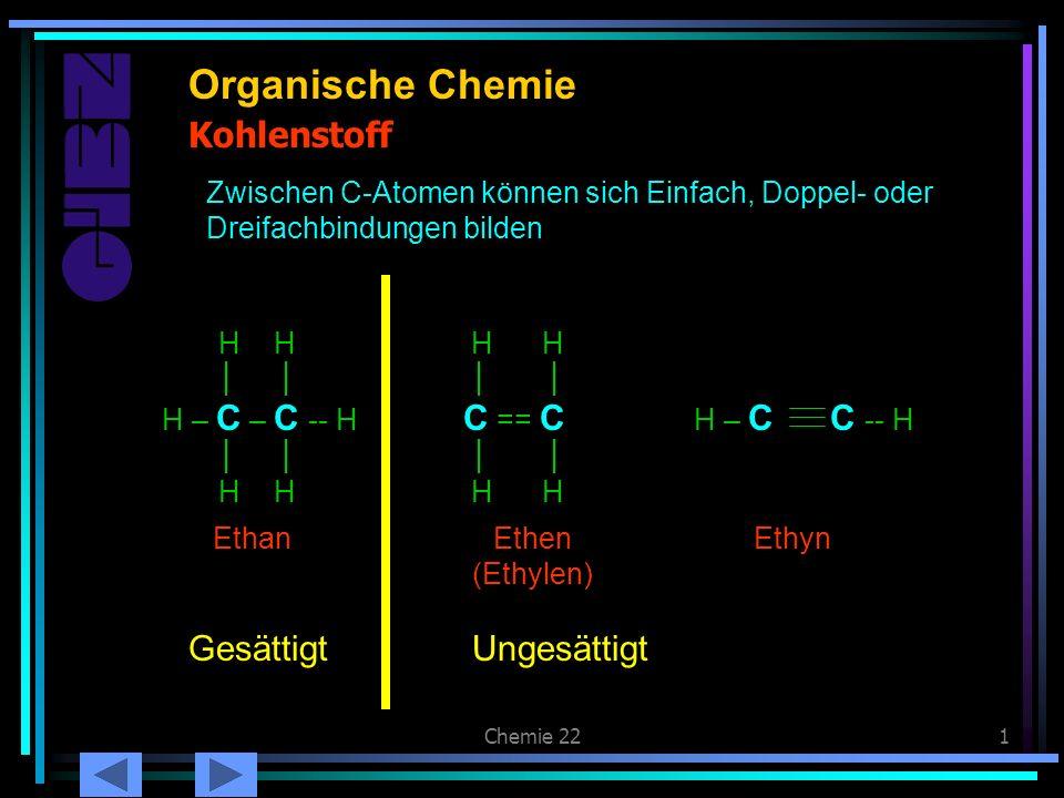 Organische Chemie Kohlenstoff C == C Gesättigt Ungesättigt