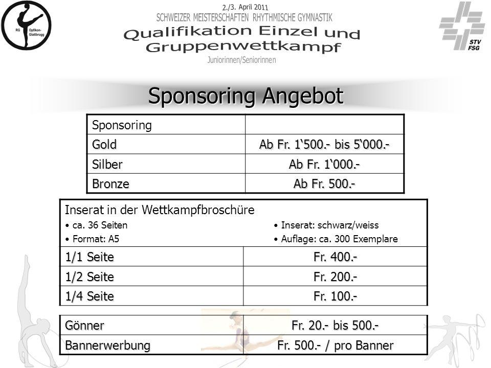 Sponsoring Angebot Sponsoring Gold Ab Fr. 1'500.- bis 5'000.- Silber