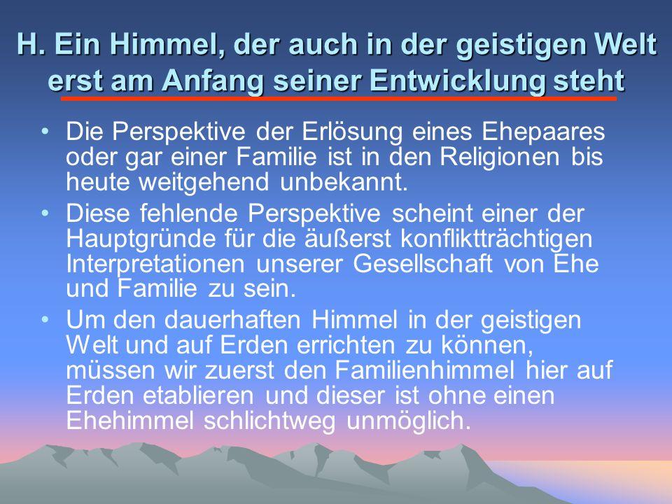 H. Ein Himmel, der auch in der geistigen Welt erst am Anfang seiner Entwicklung steht