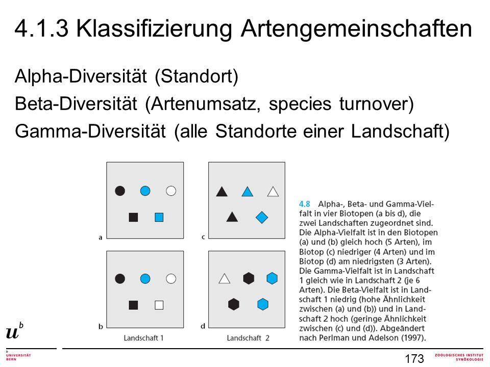 4.1.3 Klassifizierung Artengemeinschaften
