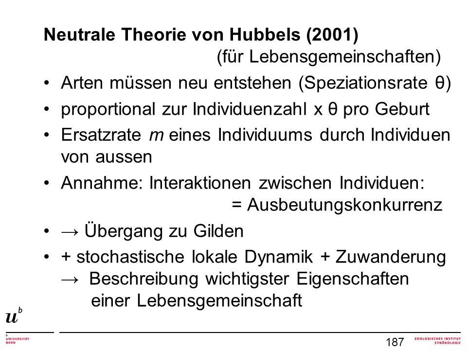 Neutrale Theorie von Hubbels (2001) (für Lebensgemeinschaften)
