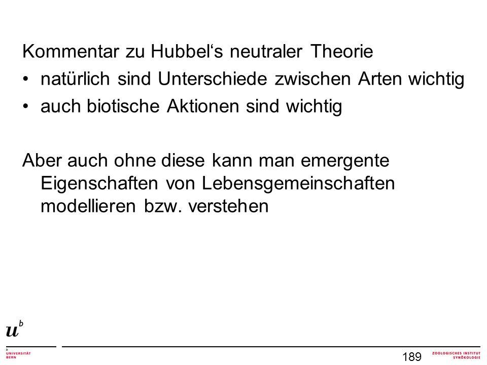 Kommentar zu Hubbel's neutraler Theorie