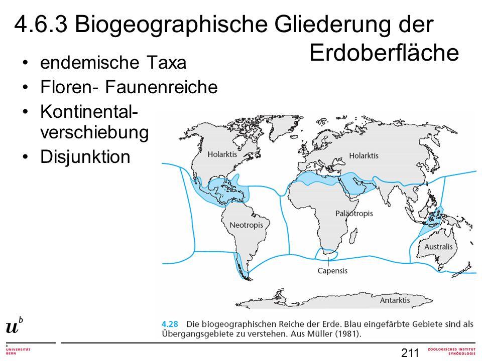 4.6.3 Biogeographische Gliederung der Erdoberfläche