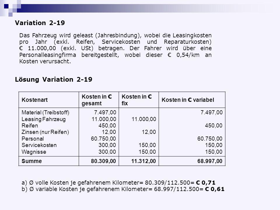 Variation 2-19 Lösung Variation 2-19
