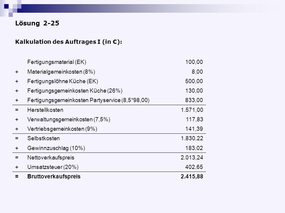 Lösung 2-25 Kalkulation des Auftrages I (in €):