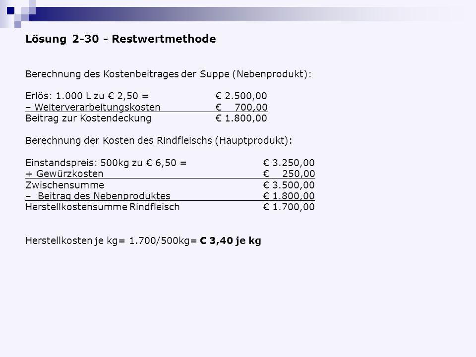 Lösung 2-30 - Restwertmethode