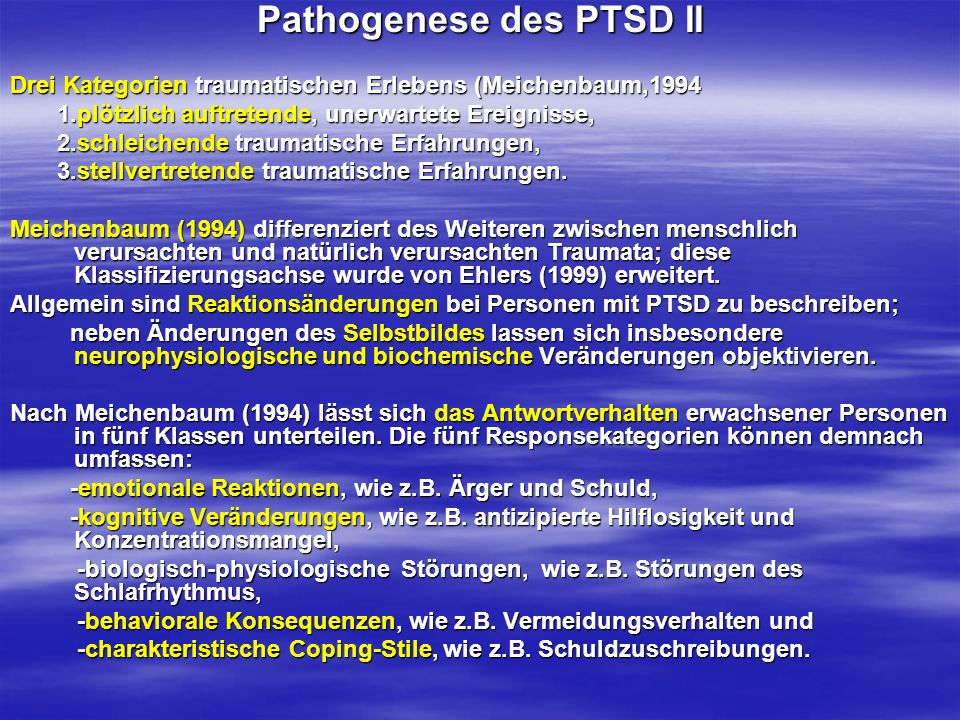 Pathogenese des PTSD II