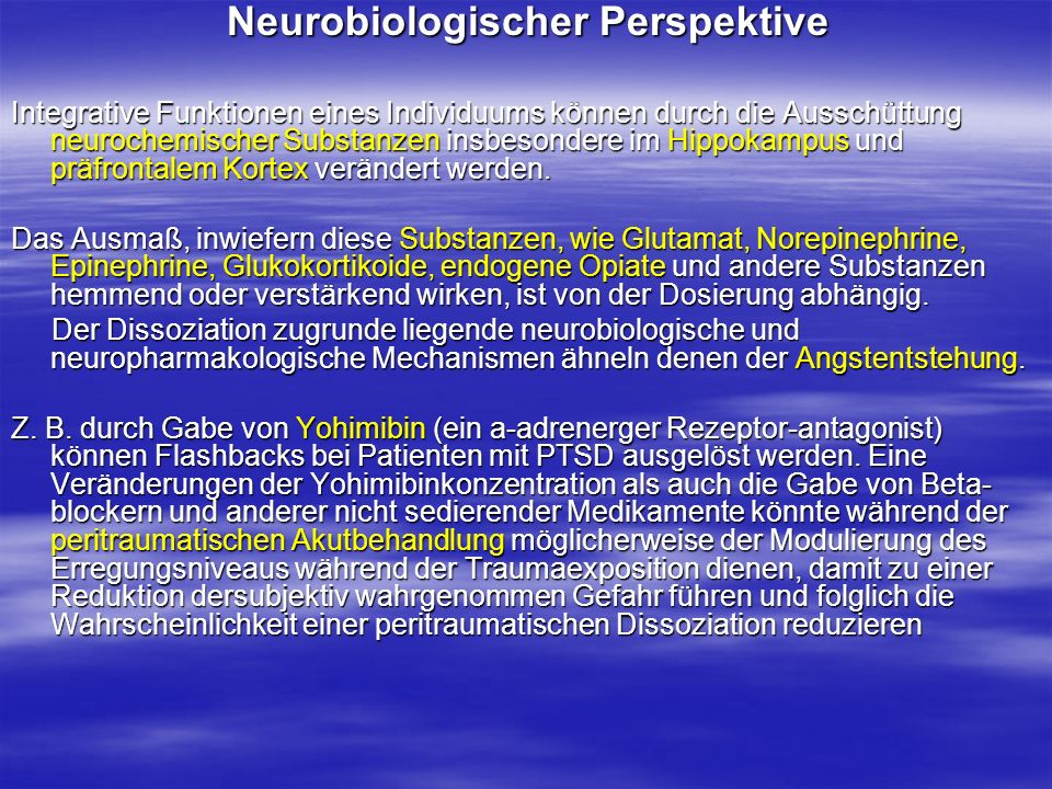 Neurobiologischer Perspektive