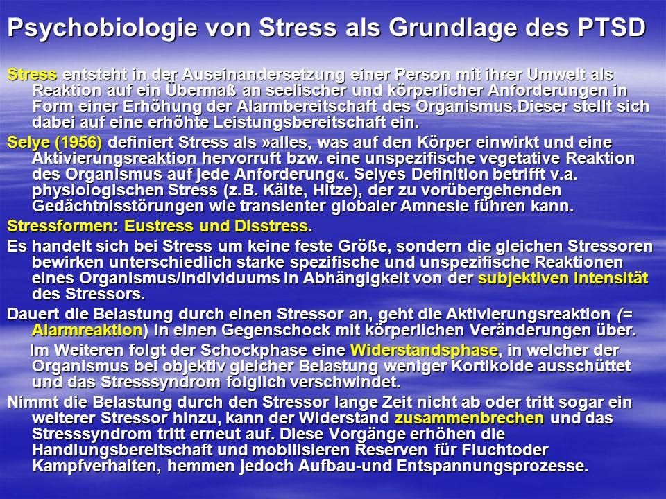 Psychobiologie von Stress als Grundlage des PTSD