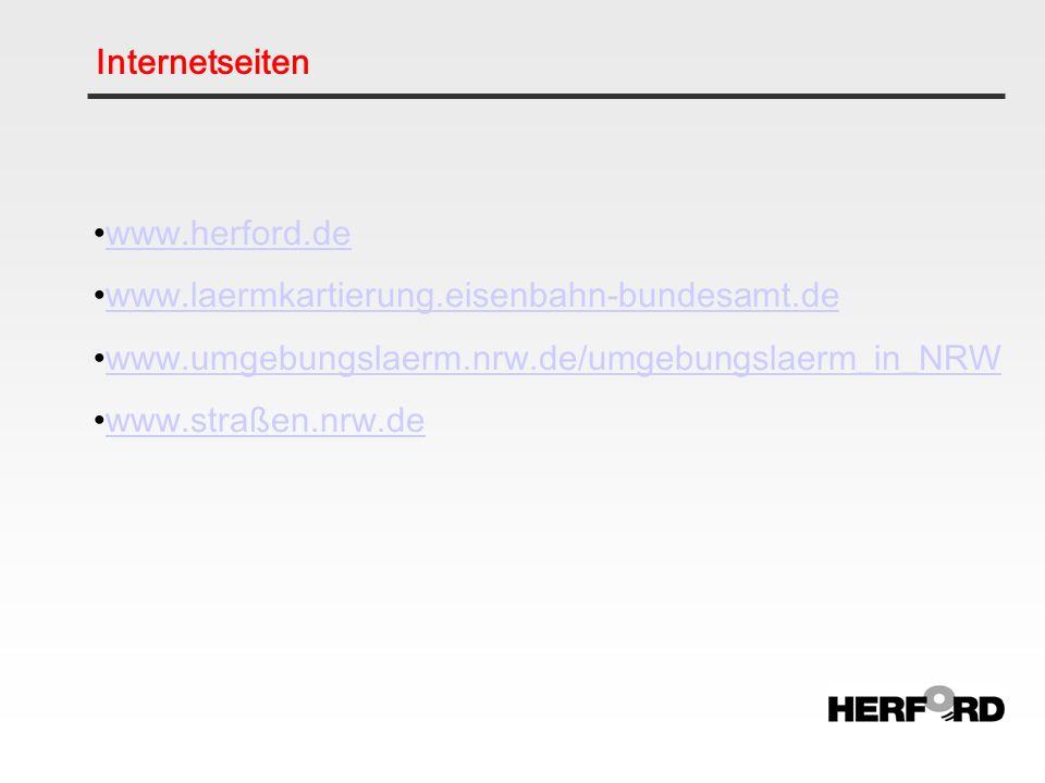 Internetseiten www.herford.de. www.laermkartierung.eisenbahn-bundesamt.de. www.umgebungslaerm.nrw.de/umgebungslaerm_in_NRW.