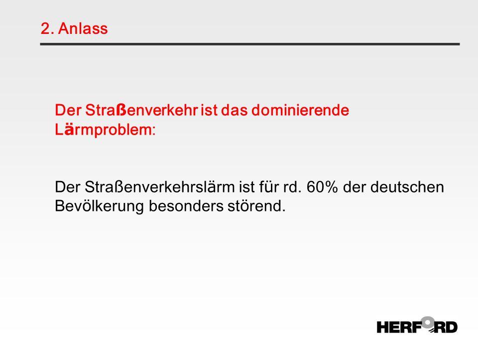 2. Anlass Der Straßenverkehr ist das dominierende Lärmproblem: Der Straßenverkehrslärm ist für rd. 60% der deutschen Bevölkerung besonders störend.