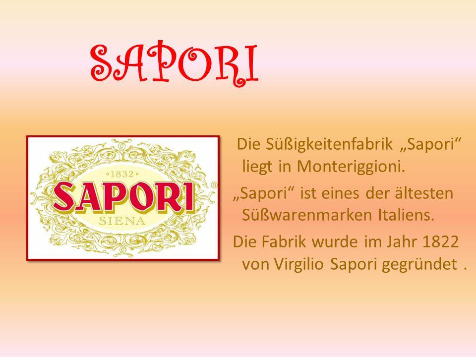 """SAPORI Die Süßigkeitenfabrik """"Sapori liegt in Monteriggioni."""
