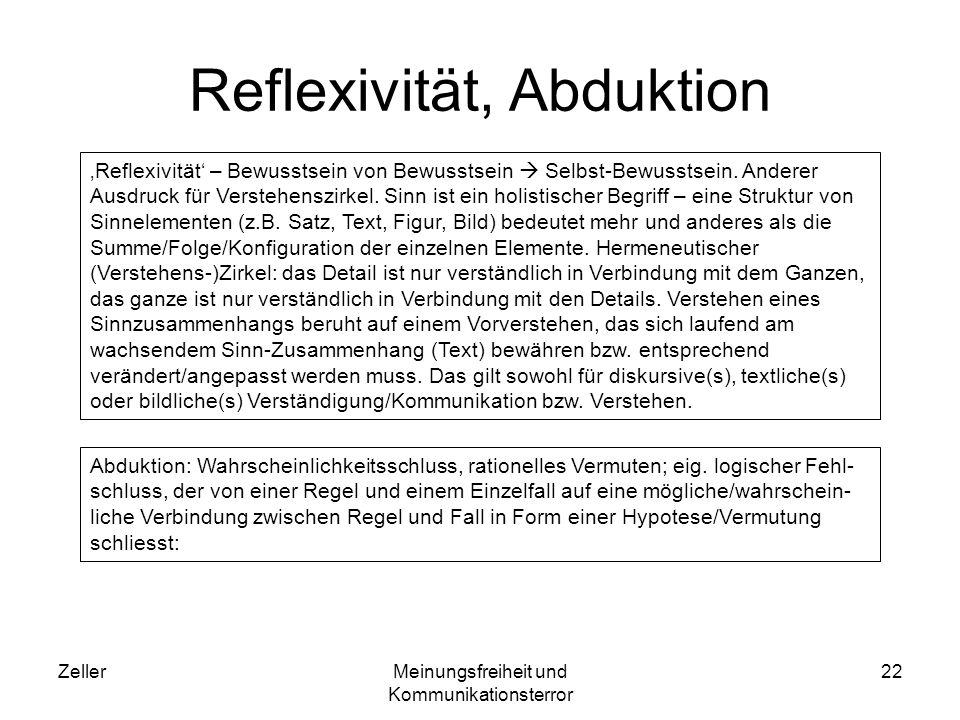 Reflexivität, Abduktion