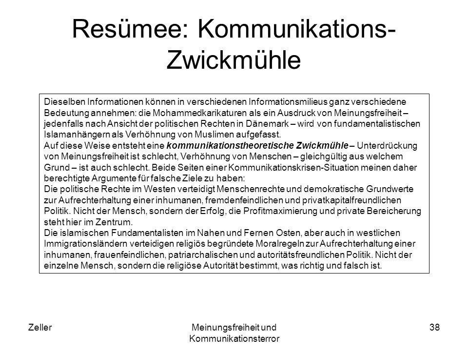 Resümee: Kommunikations-Zwickmühle