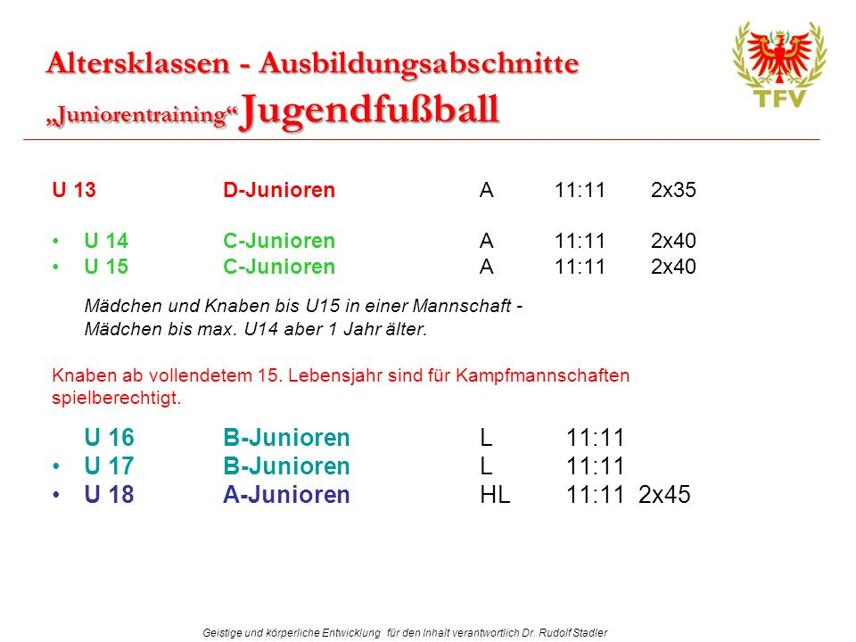 "Altersklassen - Ausbildungsabschnitte ""Juniorentraining Jugendfußball"