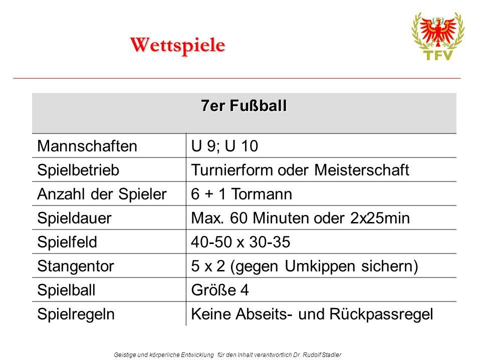 Wettspiele 7er Fußball Mannschaften U 9; U 10 Spielbetrieb
