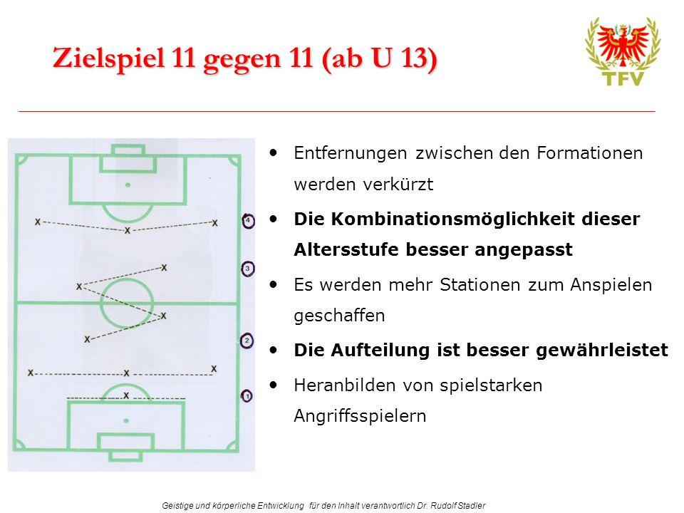 Zielspiel 11 gegen 11 (ab U 13) Entfernungen zwischen den Formationen werden verkürzt.