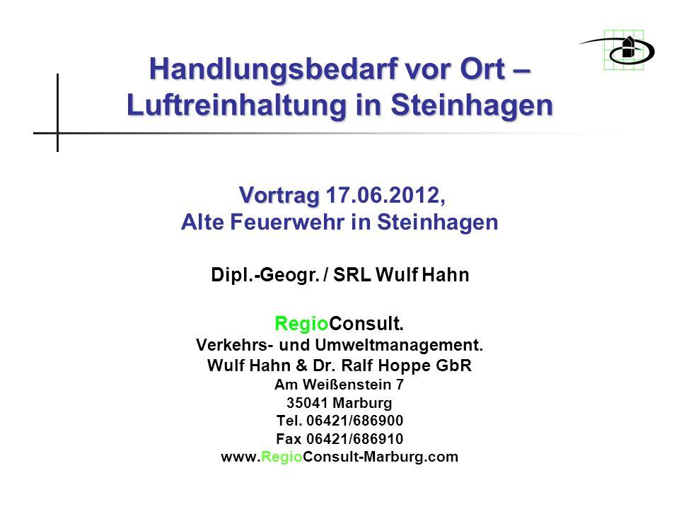Handlungsbedarf vor Ort – Luftreinhaltung in Steinhagen Vortrag 17. 06