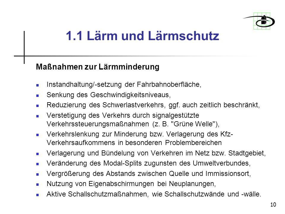 1.1 Lärm und Lärmschutz Maßnahmen zur Lärmminderung