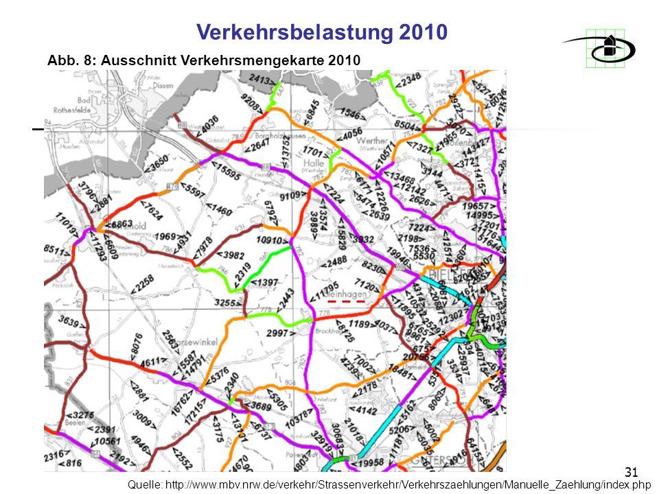 Verkehrsbelastung 2010 Abb. 8: Ausschnitt Verkehrsmengekarte 2010