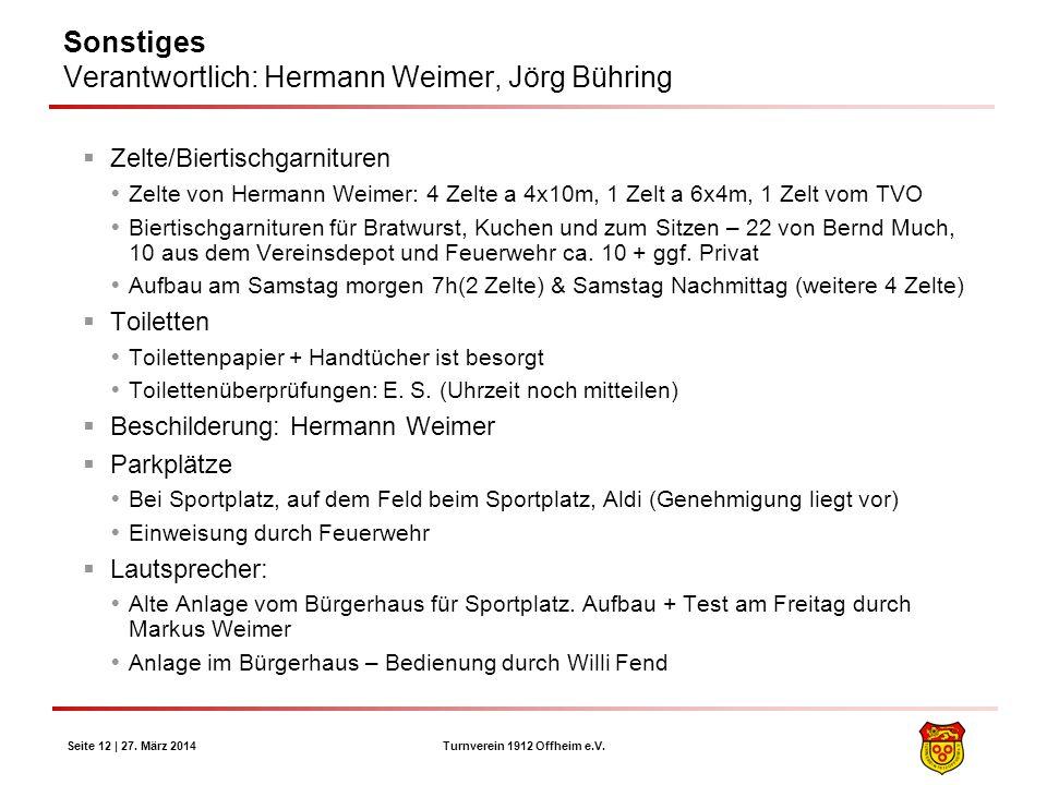 Sonstiges Verantwortlich: Hermann Weimer, Jörg Bühring