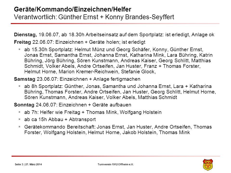 Geräte/Kommando/Einzeichnen/Helfer Verantwortlich: Günther Ernst + Konny Brandes-Seyffert