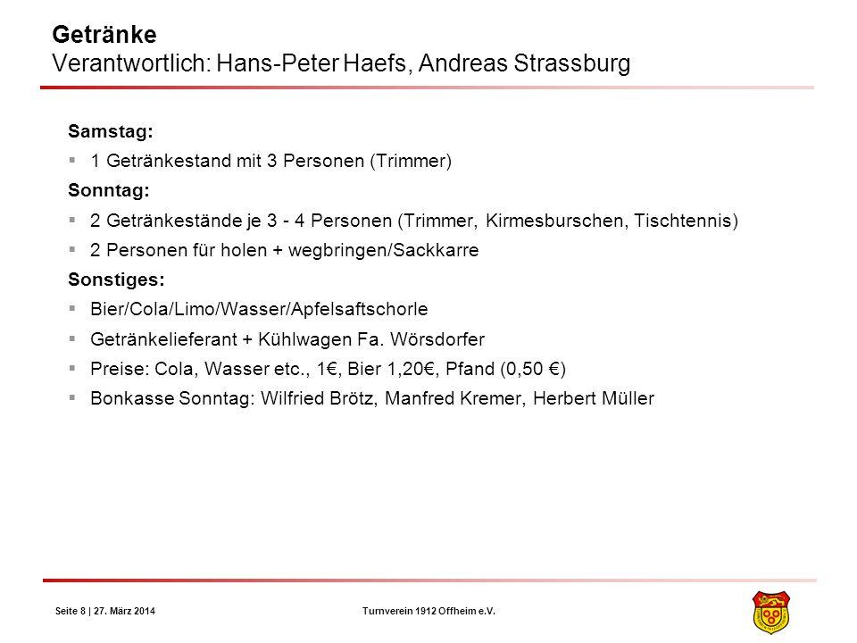 Getränke Verantwortlich: Hans-Peter Haefs, Andreas Strassburg