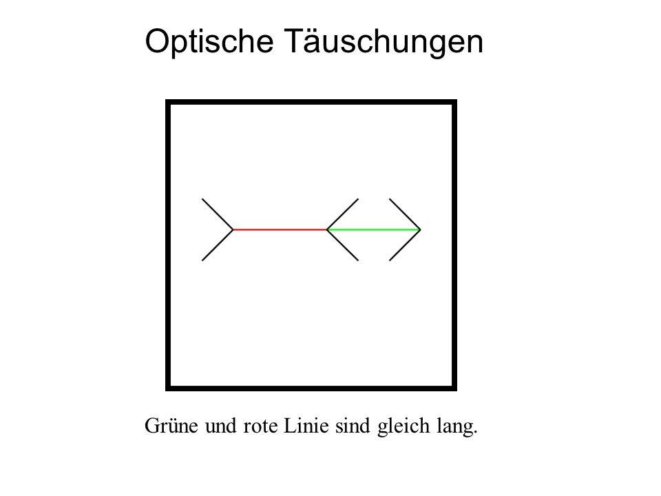 Optische Täuschungen Grüne und rote Linie sind gleich lang.
