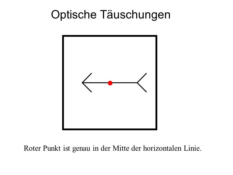 Optische Täuschungen Roter Punkt ist genau in der Mitte der horizontalen Linie.