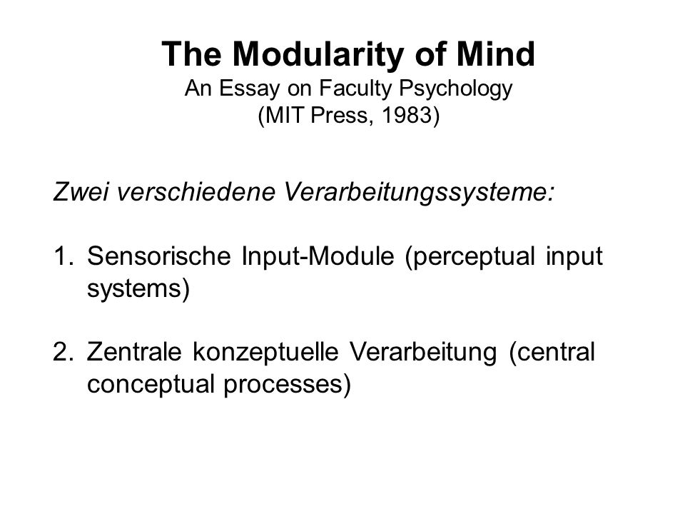 An Essay on Faculty Psychology