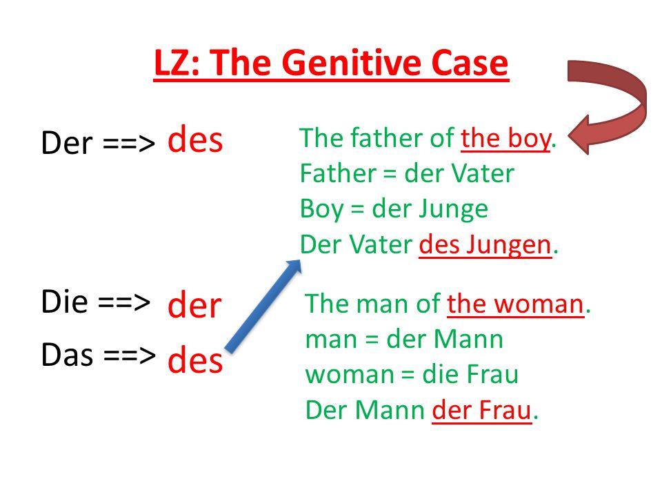 LZ: The Genitive Case des der des Der ==> Die ==> Das ==>