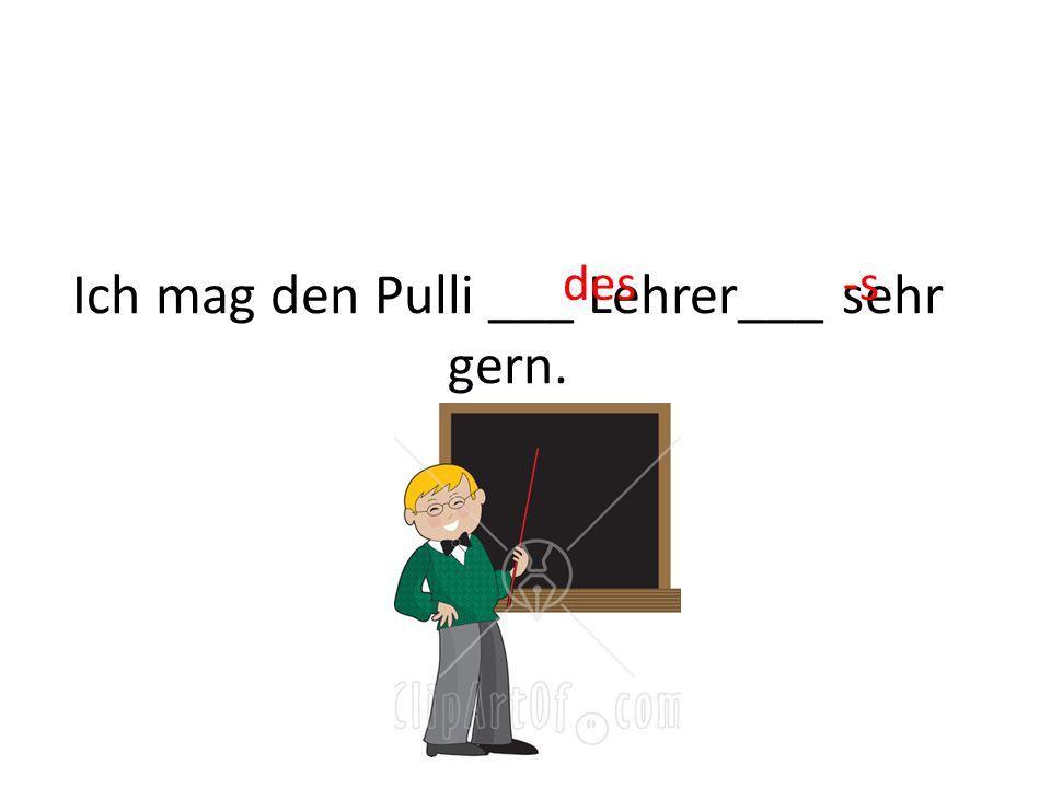 Ich mag den Pulli ___ Lehrer___ sehr gern.