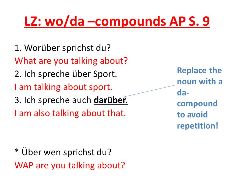 LZ: wo/da –compounds AP S. 9