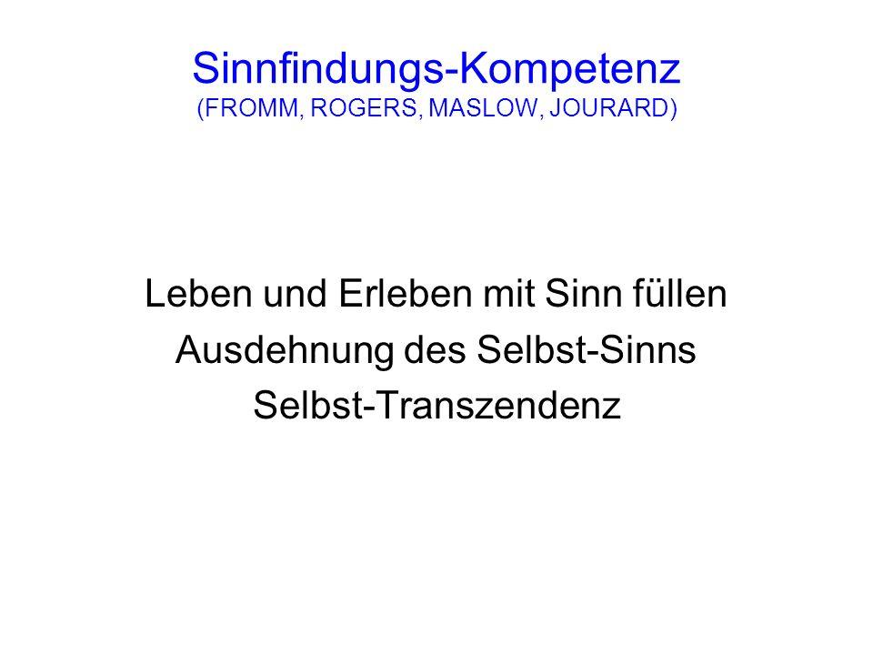 Sinnfindungs-Kompetenz (FROMM, ROGERS, MASLOW, JOURARD)