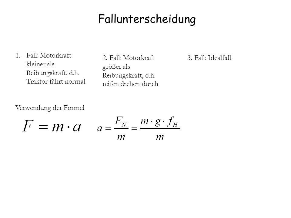 Fallunterscheidung Fall: Motorkraft kleiner als Reibungskraft, d.h. Traktor fährt normal. Verwendung der Formel.
