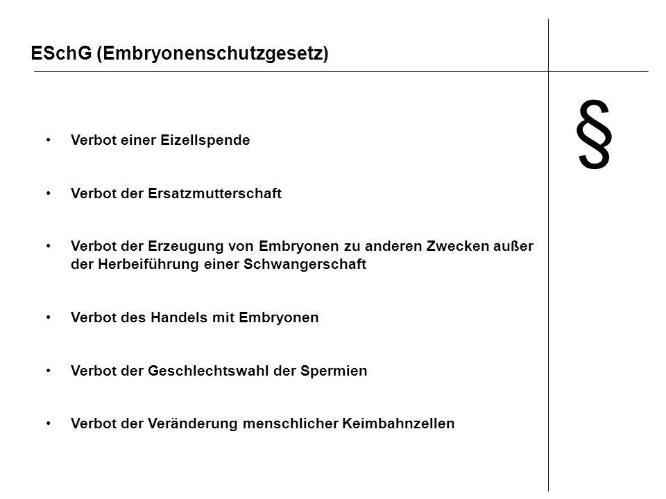 § ESchG (Embryonenschutzgesetz) Verbot einer Eizellspende